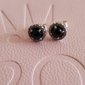 Pandora Earrings Black Stone